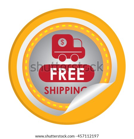 Yellow Free Shipping Special Promotion Campaign Infographics Icon on Circle Peeling Sticker Isolated on White Background  - stock photo