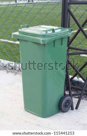 yellow garbage bins - stock photo