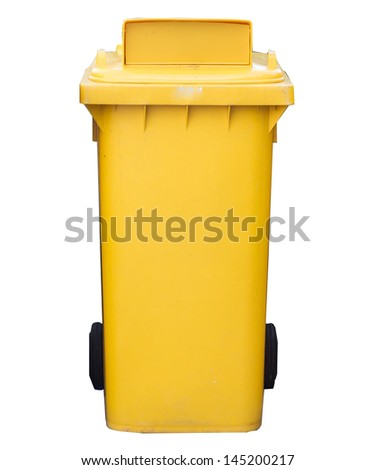 yellow garbage bins isolated white background - stock photo