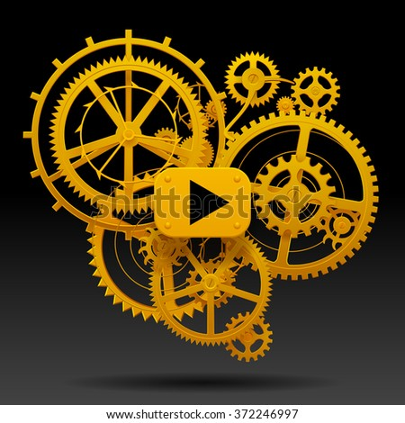 Yellow gear wheels of clockwork with move arrow on black background. Techno background. Contain the Clipping Path - stock photo