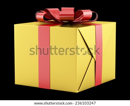 yellow gift box with red ribbon isolated on black background - stock photo
