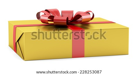 yellow gift box with red ribbon isolated on white background - stock photo