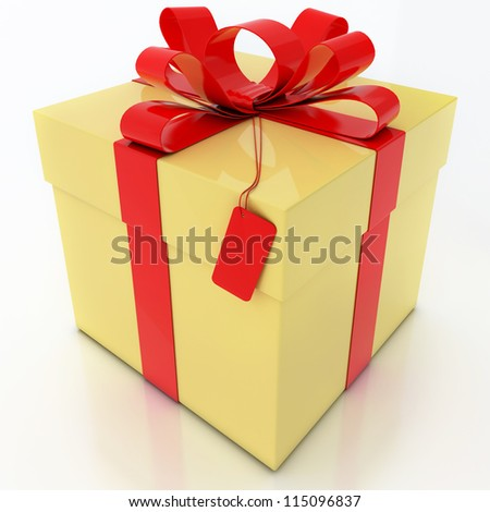Yellow Gift Box with Red Ribbon on White Background - stock photo