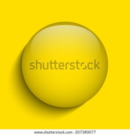 Yellow Glass Circle Button on White Background - stock photo