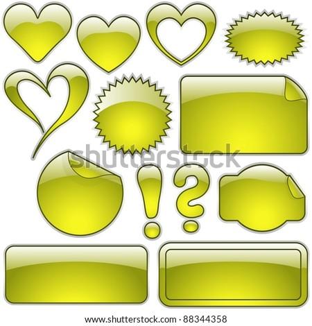 Yellow Glass Shapes - stock photo