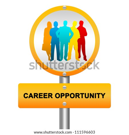 Yellow Glossy Style Career Opportunity Street Sign With Colorful Candidate Isolated on White Background - stock photo