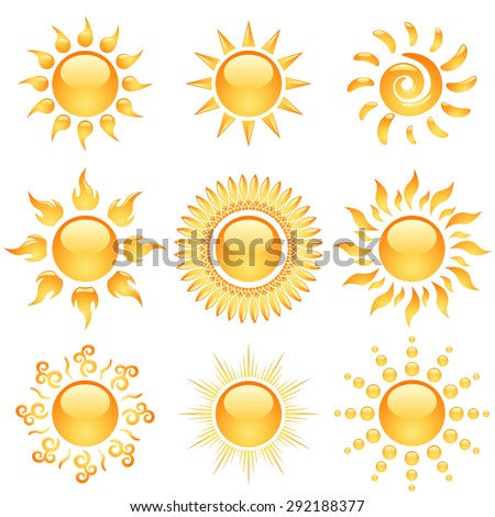 Yellow glossy sun icons collection isolated on white. - stock photo