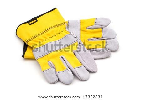 yellow gloves on white background - stock photo