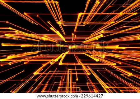 Yellow glowing geometric lines as a background - stock photo