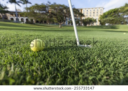 yellow Golf Ball - stock photo