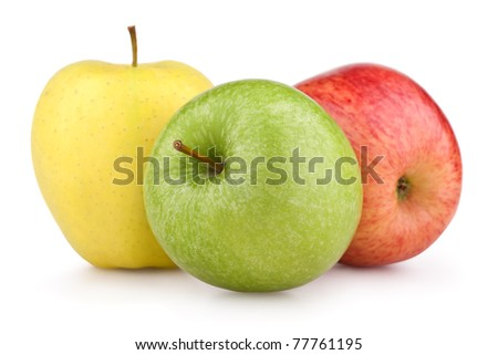 Yellow, green and red apples isolated on white - stock photo
