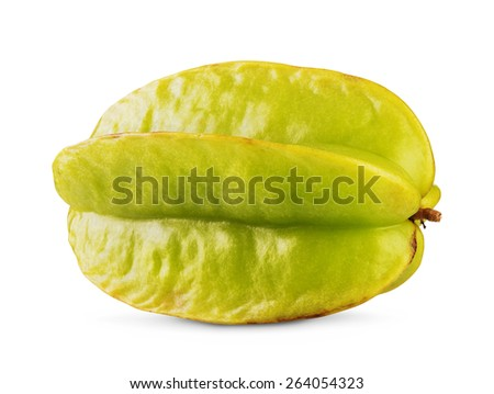 Yellow-green carambola star fruit isolated  on white background - stock photo