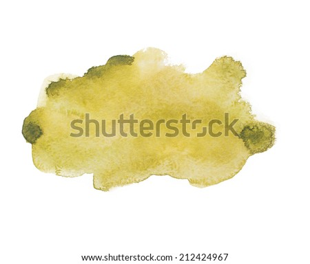 Yellow green colorful abstract hand draw watercolour aquarelle art paint splatter stain on white background - stock photo