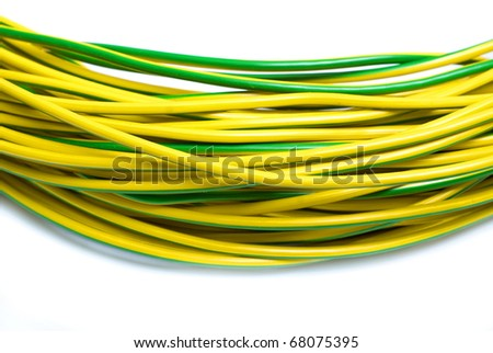 yellow green electric cabel isolated on white - stock photo