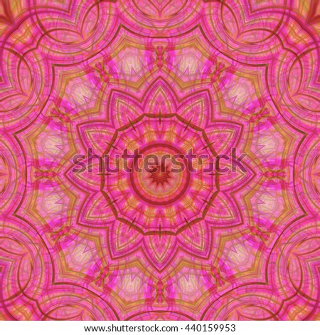 Yellow green pink spots lines kaleidoscope twist turn spin spiral floral flower background backdrop vivid design pattern orange macro  - stock photo