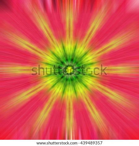 Yellow Green Red Pink Peach blue star twist spiral design background backdrop burst star circle blue purple bright unique abstract art pattern even symmetrical  - stock photo