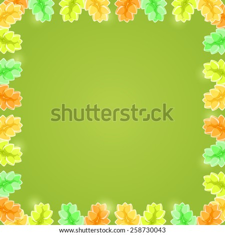 Yellow Green Shiny Flower Frame with Copy space. Invitation Card - stock photo