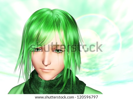 Yellow-green sky and smiling character - stock photo