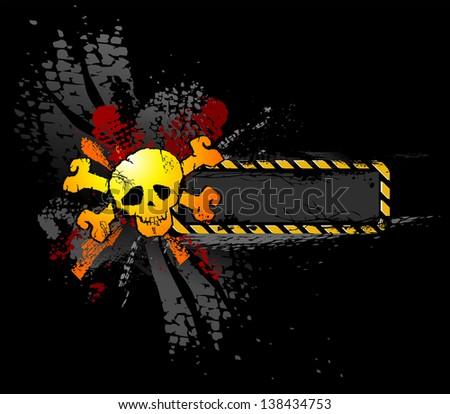 Yellow Grunge Skull Black Illustration - stock photo