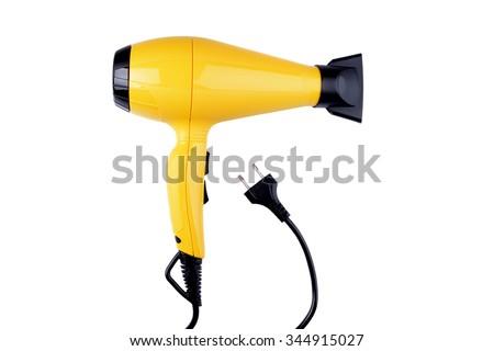 yellow  hairdryer on white background - stock photo