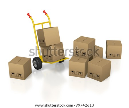 Yellow hand cart with cardboard boxes on white background - stock photo