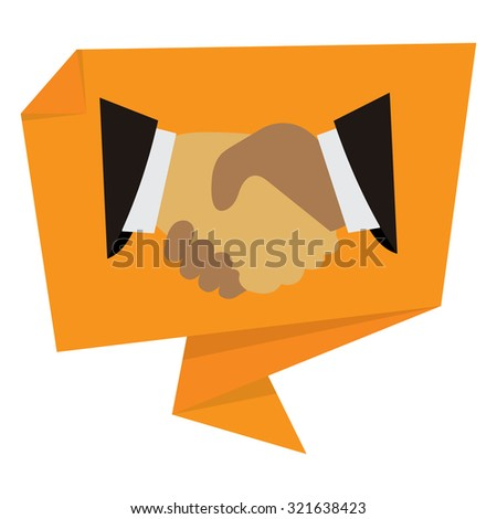 Yellow Handshake, Hand Holding Paper Origami Speech Bubble or Speech Balloon Infographics Sticker, Label, Sign or Icon Isolated on White Background - stock photo