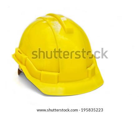 Yellow hard hat isolated on white background - stock photo