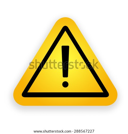 Yellow hazard warning attention sign. - stock photo