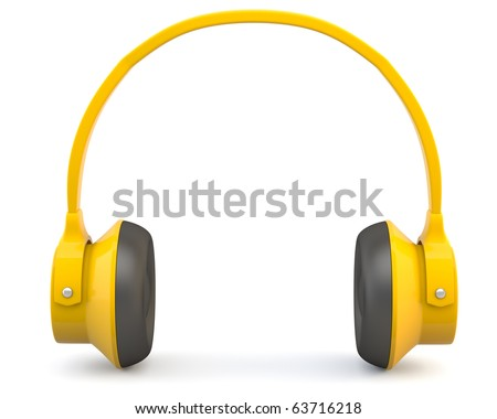 Yellow headphones isolated on white background - stock photo