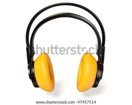 yellow headphones on white background - stock photo