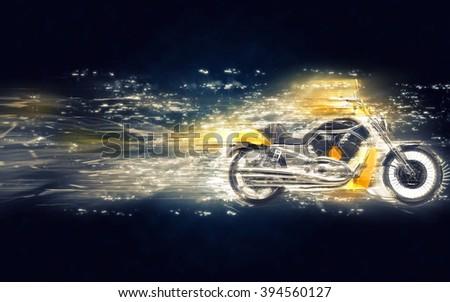 Yellow heavy bike stardust illustration - stock photo