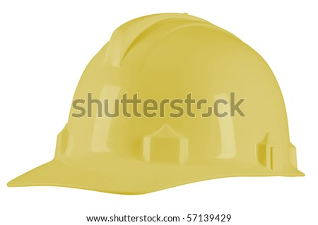 Yellow helmet. Isolated - stock photo