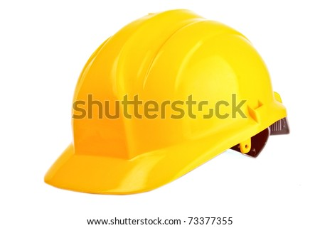 Yellow helmet isolated on white - stock photo