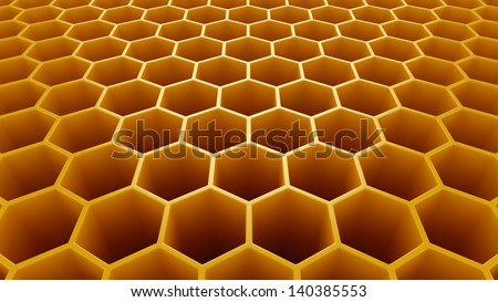 Yellow hexagonal cells background 3d model - stock photo