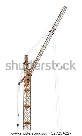 yellow hoisting crane isolate on white background - stock photo
