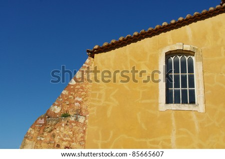 yellow house in Provence - stock photo
