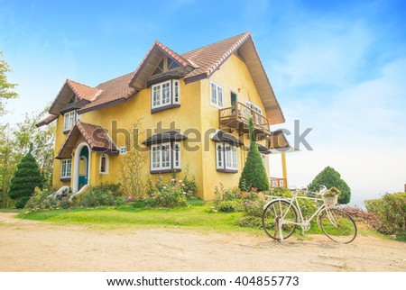 Yellow house landmark  in Pai, Mae Hong Son, Thailand - stock photo