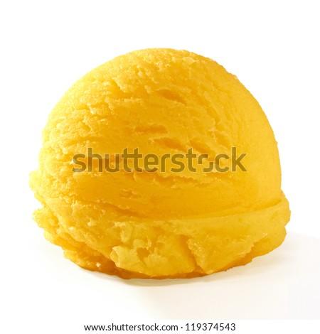 Yellow ice cream scoop isolated on white background - stock photo