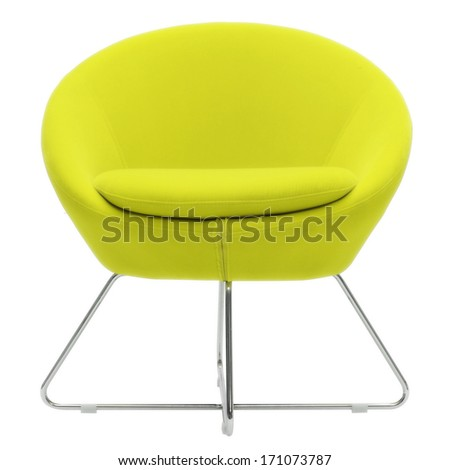yellow isolated chair - stock photo