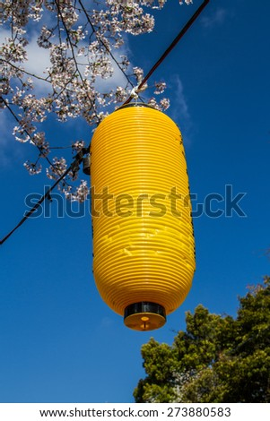 Yellow japaneese lantern hanging on Hanami festival. - stock photo