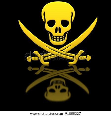 Yellow Jolly Roger skull and swords on the glossy surface. - stock photo