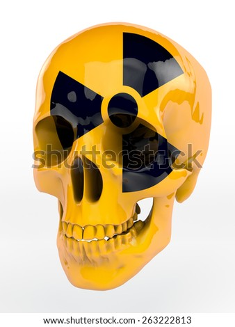 Yellow lacquered skull with black radioactive sign - stock photo