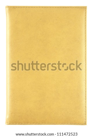 yellow leather book isolated on white with clipping path - stock photo