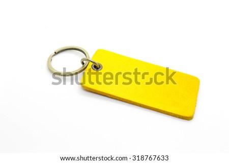 Yellow leather Keychain - stock photo
