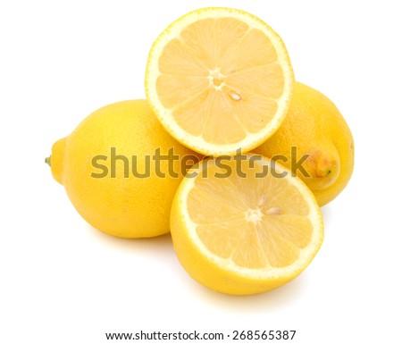 yellow lemons isolated on white  - stock photo