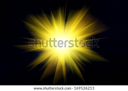 Yellow light and rays on a black background, Explosion, Illustration - stock photo