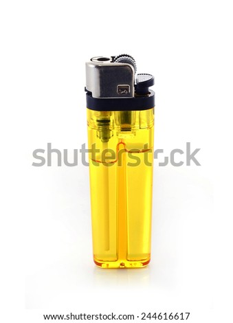 yellow lighter isolated on a white background - stock photo