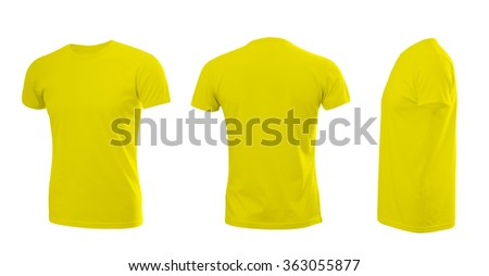 Yellow man's T-shirt with short sleeves with rear and side view on a white background - stock photo