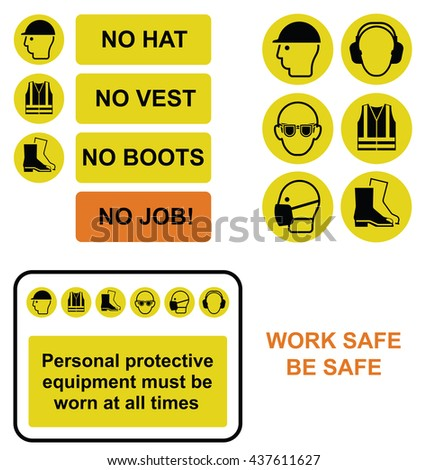 Yellow mandatory construction manufacturing and engineering health and safety sign and icon collection isolated on white background - stock photo