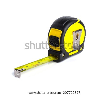 Yellow measuring tape isolate on white background.  - stock photo